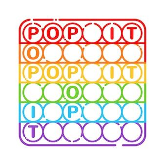 Trendy anti-stressprogramma zintuiglijke speelgoed pop it fidget in lijn kunststijl geïsoleerd op een witte achtergrond. vierkant handspeelgoed voor kinderen met duwbubbels. vector illustratie.