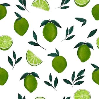 Trendy aquarel naadloze patroon met groene limoenen vol en plak