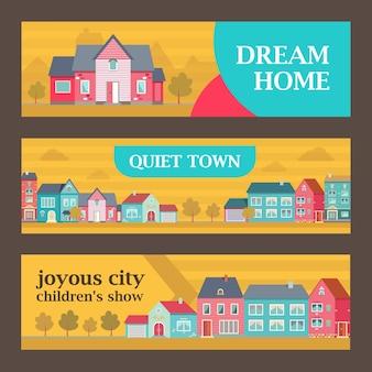 Trendy banners voor droomhuisadvertenties