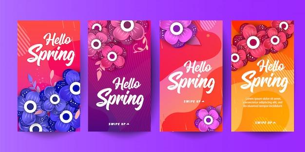 Trendy bewerkbare sjabloon lente verkoop banners voor sociale netwerken verhalen