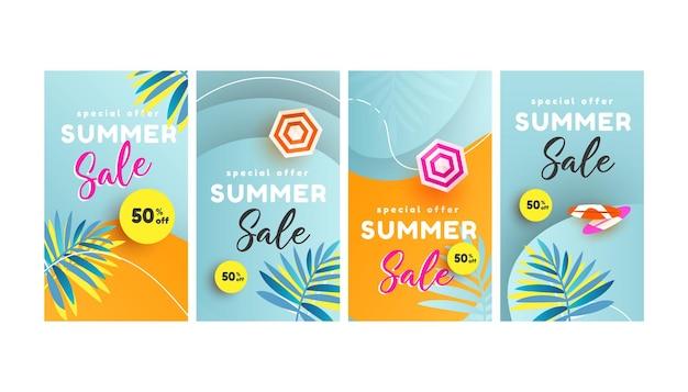Trendy bewerkbare zomerverkoopsjabloon voor de banner van sociale netwerkenverhalen.