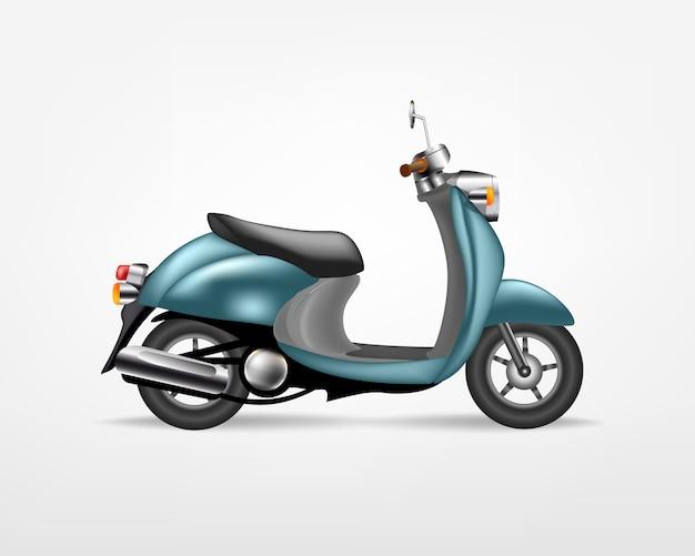 Trendy blauwe elektrische scooter, op witte achtergrond. elektrische motor, sjabloon voor branding en reclame.