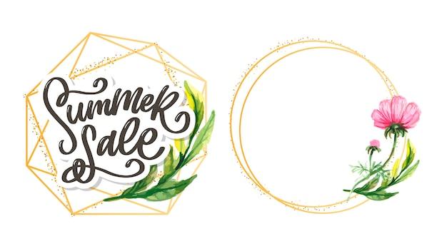 Trendy bloemen sjabloon. zomerbloemen en zomer verkoop belettering illustratie. shabby gouden textuur op gestreepte achtergrond.