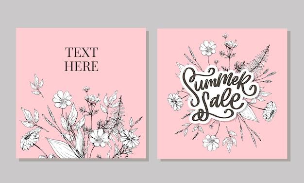 Trendy bloemen zomer verkoop belettering en lijn kunst bloemen illustratie sjabloon