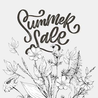 Trendy bloemenmalplaatje. zomerbloemen en zomer verkoop belettering illustratie. shabby gouden textuur op gestreepte achtergrond. aquarel crème en roze roze bloemen met groene verlof achtergrond.