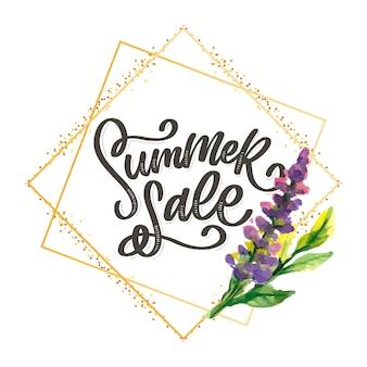 Trendy bloemenmalplaatje. zomerbloemen en zomer verkoop belettering illustratie. shabby gouden textuur op gestreepte achtergrond.
