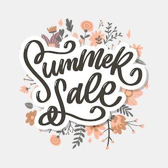 Trendy bloemenmalplaatje. zomerbloemen en zomer verkoop belettering illustratie.