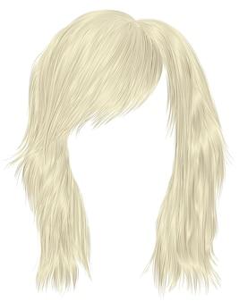Trendy blonde kleur van vrouwenharen. gemiddelde lengte. schoonheid stijl. realistische 3d.