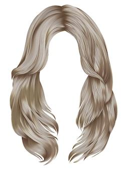 Trendy blonde kleuren van vrouwen lange haren. schoonheid mode. realistisch haar