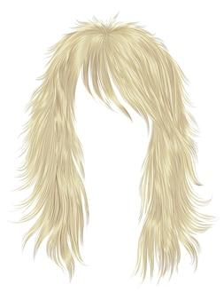 Trendy blonde kleuren van vrouwen lange haren. schoonheid mode. realistische 3d