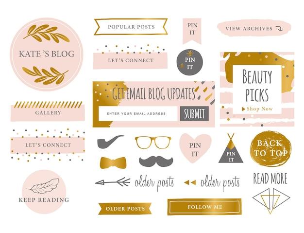 Trendy branding blog kit pictogrammen website symbolen en pictogrammen