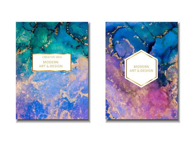 Trendy bruiloft uitnodiging ontwerp frame marmering textuur aquarel alcohol inkt splash vloeistof stroom te...