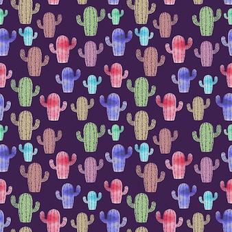 Trendy cactuspatroon met kleurrijke kinderachtige tekening