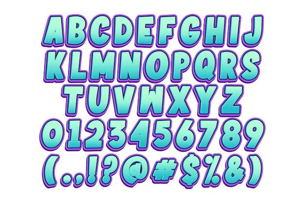 Trendy cartoon lettertype en nummer