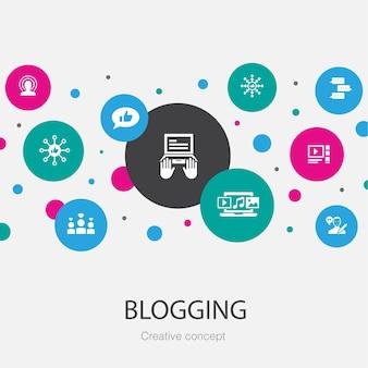 Trendy cirkelsjabloon bloggen met eenvoudige pictogrammen. bevat elementen zoals sociale media, opmerkingen, blogger, digitale inhoud