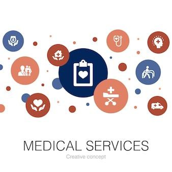 Trendy cirkelsjabloon voor medische diensten met eenvoudige pictogrammen