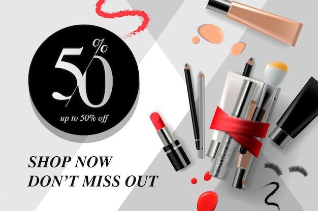 Trendy cosmetische producten, advertenties beauty streamers. modern ontwerp illustratie concept voor website en mobiele website-ontwikkeling.