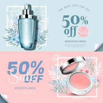 Trendy cosmetische productenbanner met wangblush en essentiefles in 3d illustratie, aquarel handgetekende bloemendecoraties