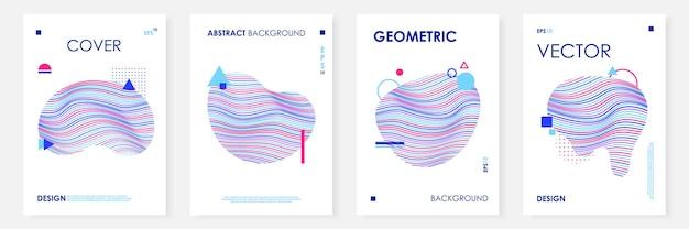 Trendy covers sjabloon set met abstracte vloeiende vorm