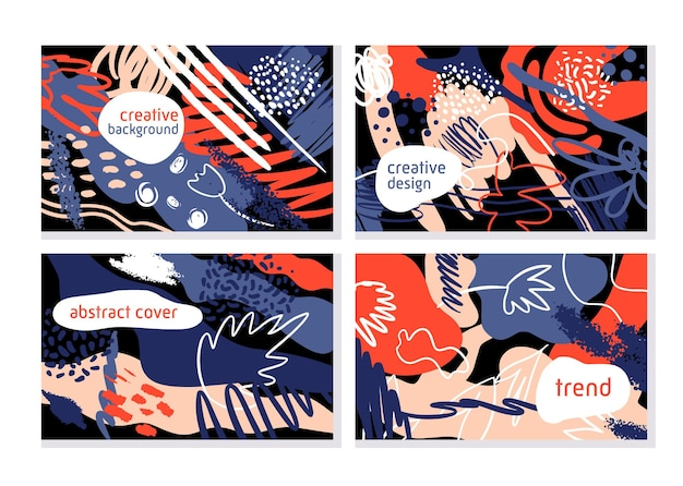 Trendy creatieve set banner van collage hedendaagse stijl met verschillende texturen en vormen.