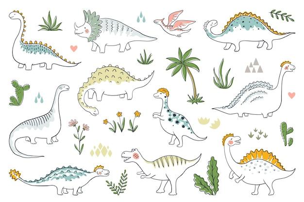 Trendy doodle dinosaurussen. leuke schets dino baby's set, grappige cartoon draken en jurassic dinosaurussen.