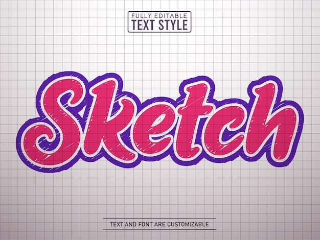 Trendy doodle schets op papier teksteffect