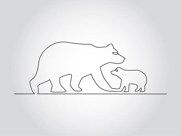 Trendy doorlopende lijn kunst vectorillustratie met beer