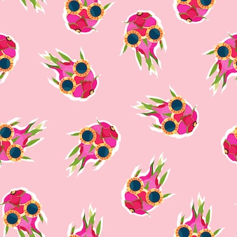 Trendy drakenfruit roze patroon.