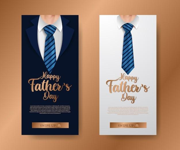 Trendy elegante luxe sociale media verhalen banner uitnodiging voor vaderdag