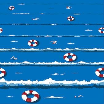 Trendy en frisse zomer oceaan golven met ontspannen zwemmen, leven ring vakantie sfeer in de hand getrokken vector naadloze patroon ontwerp