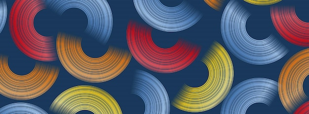 Trendy geometrische achtergrond met abstracte cirkels vormen. bannerontwerp. futuristisch dynamisch patroonontwerp. vector illustratie