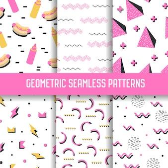 Trendy geometrische elementen naadloze patronen instellen