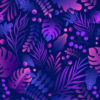 Trendy gradiëntcurve creatieve weelderige tropische vegetatie, exotische bladeren en jungle gebladerte naadloos patroon. kleurrijke paarse botanische natuurlijke plant platte vectorillustratie op zwarte achtergrond.