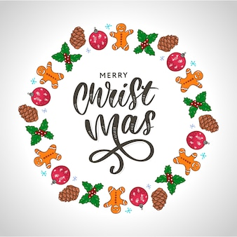 Trendy hand belettering met kleurrijke kerstvakantie frame met traditionele attributen in lijnstijl.