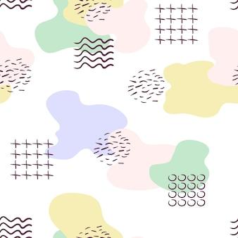 Trendy handgetekende abstracte memphis geometrische pastel naadloze patroon vloeibare vloeibare vormen met stippen
