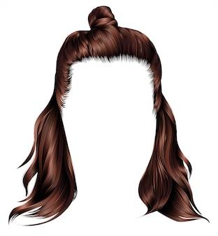 Trendy haren bruine donkerbruine kleuren. kare met hun. schoonheid mode. half-bun