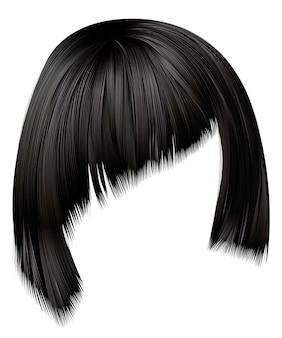 Trendy haren brunette zwarte kleuren. asymmetrische kare met schuine pony. schoonheid mode