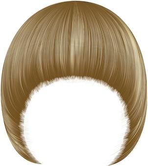Trendy haren pageboy met franje. lichtblonde kleuren. gemiddelde lengte. realistische 3d.