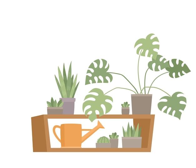 Trendy huisdecor met planten in pottenillustratie