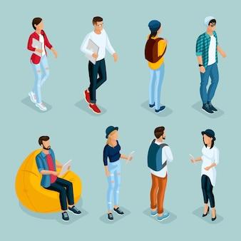 Trendy isometrische jonge creatieve mensen
