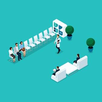 Trendy isometrische mensen, die op hun beurt wachten op de spreekkamer, patiënten