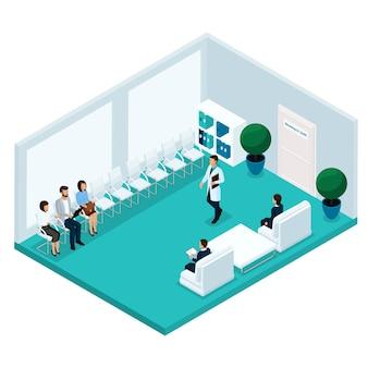 Trendy isometrische mensen, een ziekenhuisgang, die op hun beurt wachten op het kantoor van de arts