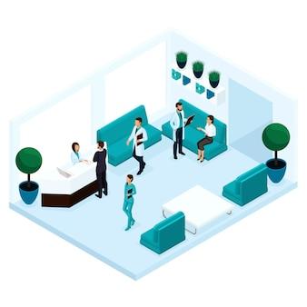 Trendy isometrische mensen, een ziekenhuisgang, receptie, artsenbespreking met de patiënt, chirurg, medisch personeel, verpleegkundige, ontvangende patiënten