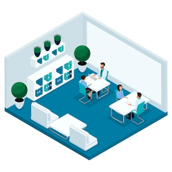 Trendy isometrische mensen, een ziekenhuiskamer, een dokterspraktijk, de arts ontvangt patiënten, de chirurg, de patiënt