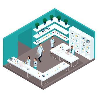 Trendy isometrische mensen, een ziekenhuiskamer, laboratoriumwetenschappers, medische professionals, onderzoek, experimenten, analyses, laboratoriummedewerkers