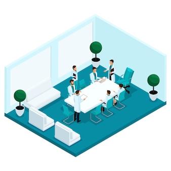 Trendy isometrische mensen, een ziekenhuiskamer, spreekkamer, personeel, ziekenhuispersoneel, chirurgen en artsenconsult