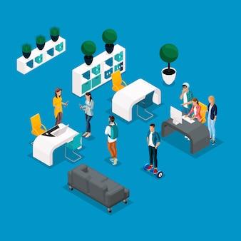 Trendy isometrische mensen en gadgets coworking center, creatief werk en ontspanning, een stijlvol interieur, laptop, werkende freelancers, kunstenaars, programmeurs zijn geïsoleerd
