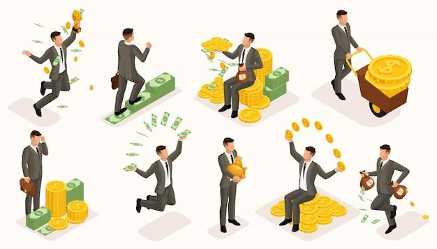 Trendy isometrische mensen vector, 3d zakenlieden geldbijlagen, zakelijke scène met jonge zakenman, investeringen, veel contant geld, zakenman baadt in geld