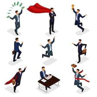 Trendy isometrische mensen, zakenman, concept met jonge zakenman, geld, prijs, succes, vreugde, werk, beweging, geïsoleerd opstarten