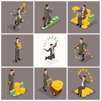 Trendy isometrische mensen, zakenman, concept met jonge zakenman, geld, succes, goud, rijkdom, vreugde, werk, start-up